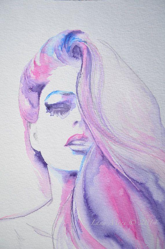 Fashion Watercolor Original Illustration by LanasArt.etsy.com