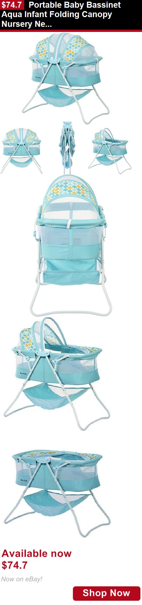 Bassinets And Cradles: Portable Baby Bassinet Aqua Infant Folding Canopy Nursery Newborn Sleeper Travel BUY IT NOW ONLY: $74.7