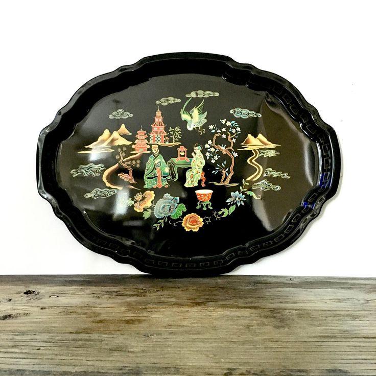 Vintage Baret Ware Black Asian Serving Tray / Metal Tray by EllasAtticVintage on Etsy