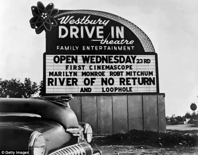 A drive-in sign advertising River Of No Return, starring Robert Mitchum and Marilyn Monroe, in 1954 New York