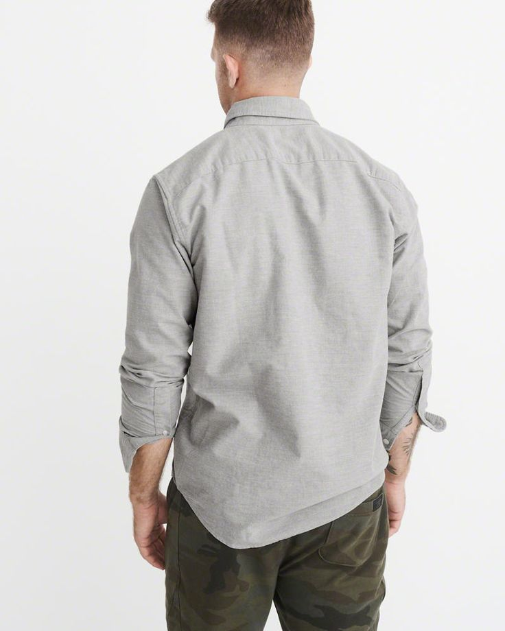 A&F Men's Oxford Shirt in Grey - Size XXL