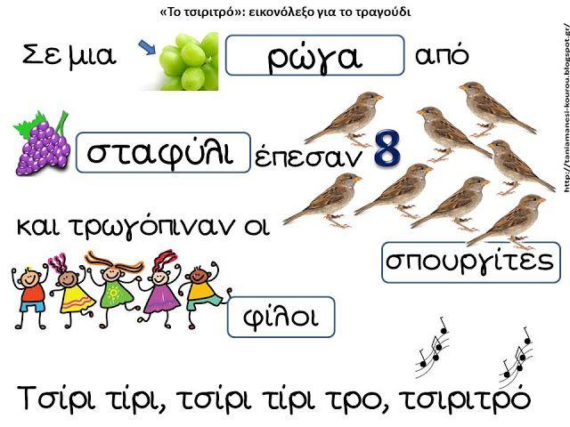"""Δραστηριότητες, παιδαγωγικό και εποπτικό υλικό για το Νηπιαγωγείο: Σε μια ρώγα από σταφύλι (""""Το τσιριτρό""""): εικονόλεξο για το μελωποιημένο ποίημα του Ζαχαρία Παπαντωνίου"""