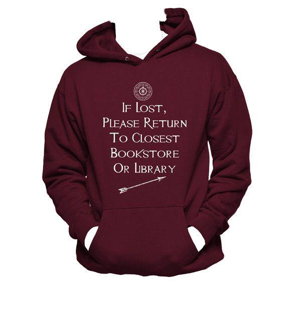 If Lost Humor Book Lover Unisex Hoodie Book Nerd by NerdGirlTees