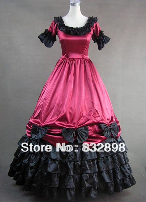 Deep Red Short Sleeves Gothic Victorian Dress  Hallowmas Party Dresses