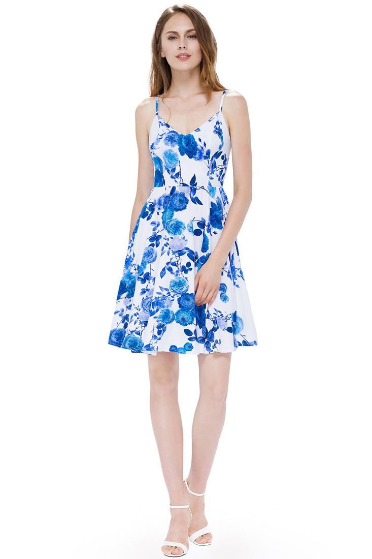 White and Blue Floral Print Strappy Dress | Buy Strappy Dresses Online.
