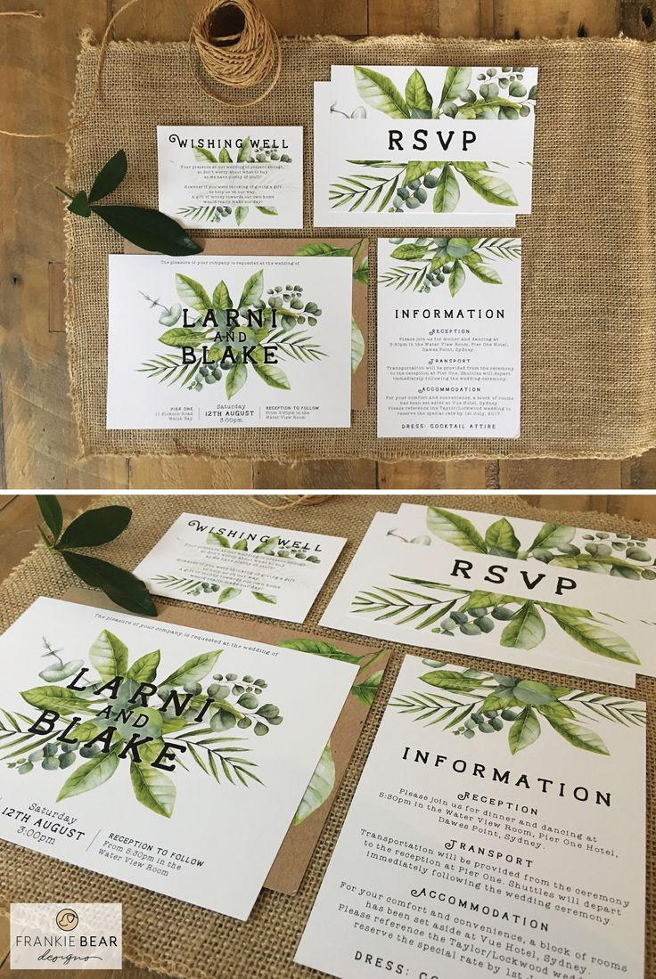 WHIMSICAL GREENERY WEDDING INVITATION by Frankie Bear Designs. This gorgeous, whimsical green foliage wedding invitation with a variety of leaves against a white background will coordinate perfectly with your natural or greenery wedding theme!