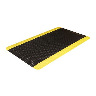 "Crown Matting Industrial Doormat Color: Black with Yellow Border, Size: 36"" x 60"""