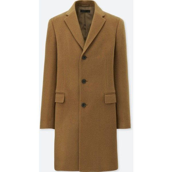 UNIQLO Men's Wool Cashmere Chesterfield Coat ($100) ❤ liked on Polyvore featuring men's fashion, men's clothing, men's outerwear, men's coats, brown, mens cashmere coat, mens parka, mens parka coats and mens brown coat