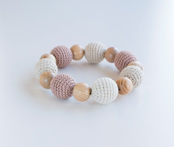 Cappuccino teething bracelet with wooden crochet by MyFirstToy