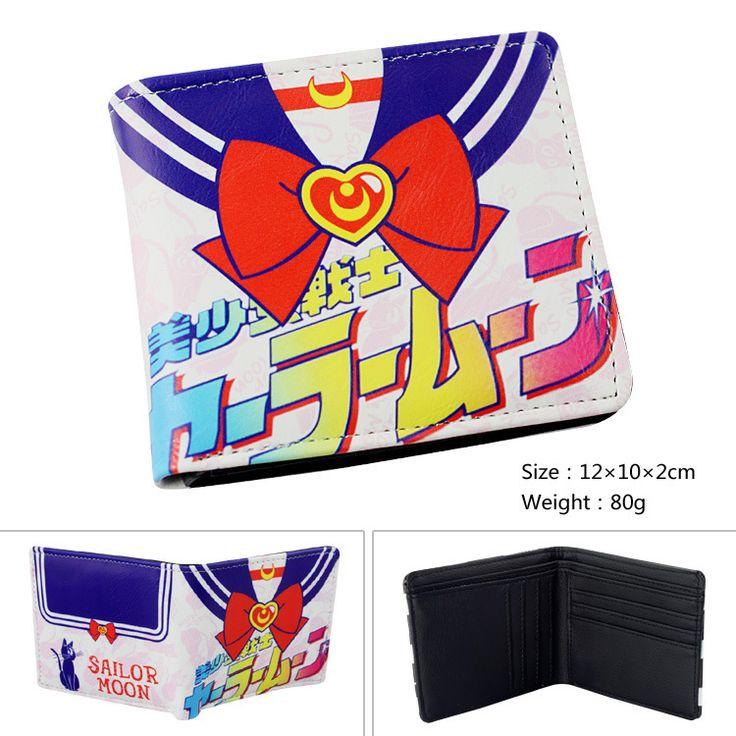 Hot Sailor Moon Anime PU Leather Wallet Girl Lady Gift Purse Sailor Suit Color Animation Women Short Wallets carteira feminina