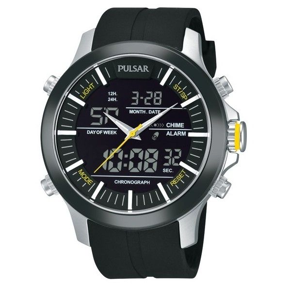 Pulsar Analog and Digital World Time Alarm Chronograph PW6001 - Quartz... (340 BRL) ❤ liked on Polyvore featuring men's fashion, men's jewelry, men's watches, mens chronograph watches, mens chronograph watch, mens watches jewelry and mens analog watches