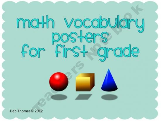 Math Vocabulary Posters for First Grade based on CCSS