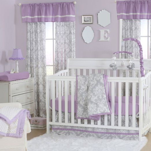 Grey Damask and Purple 4 Piece Baby Crib Bedding Set by The Peanut Shell