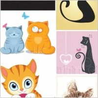 Animal cat theme vector