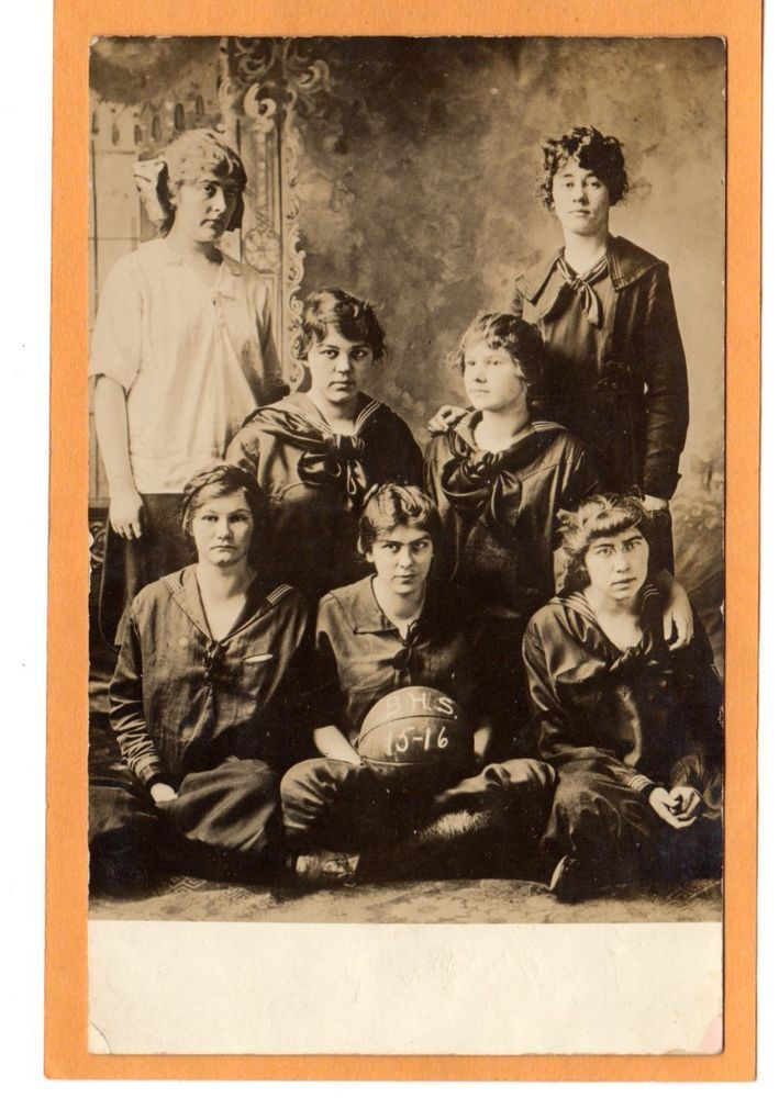 Studio Real Photo Postcard RPPC - Girls High School Basketball Team 1915 - 16