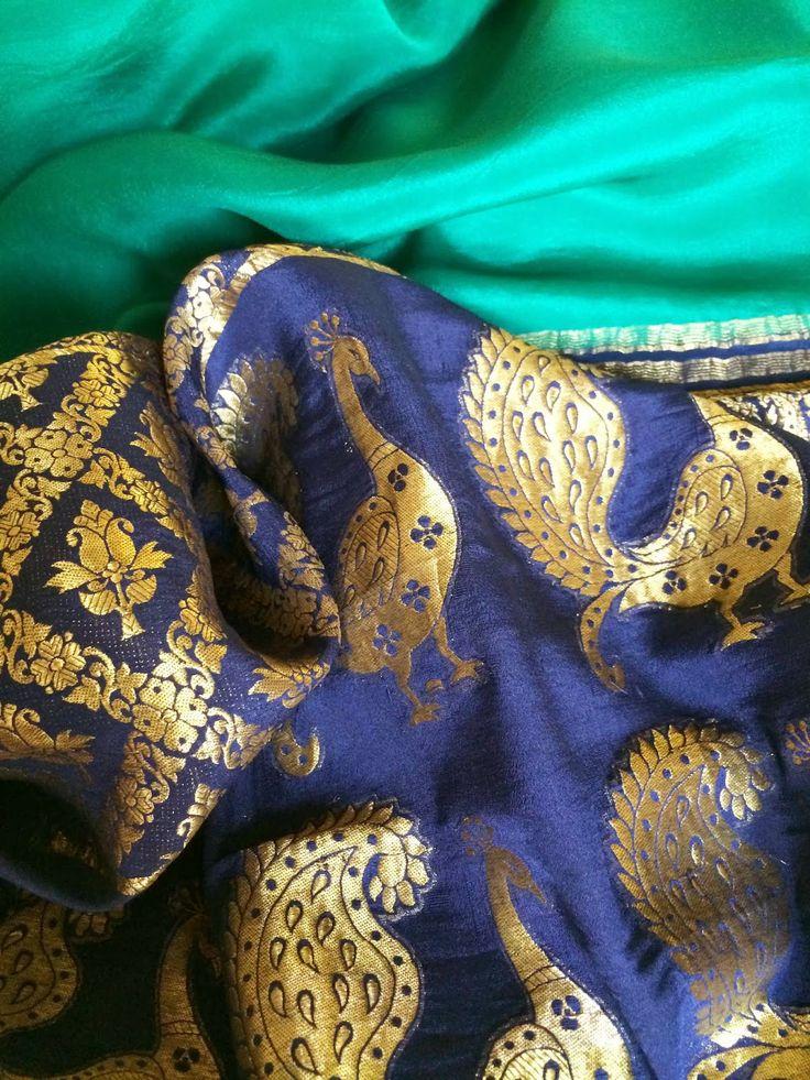 Vintage crepe silk Banarsi Sari with peacock border