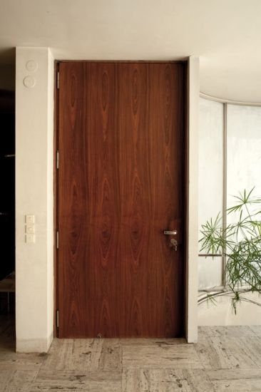 Main entrance door to the house, view from the hall
