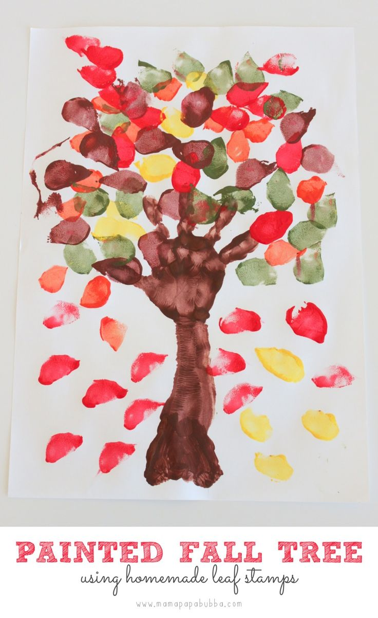 Painted fall tree using homemade leaf stamps