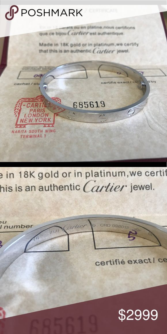 Stunning and Super beautiful Love Bracelet Sz 16 This is a real 18k solid gold bangle, it comes with certificate, bangle and screw driver were purchase in Dubai. Cartier Jewelry Bracelets