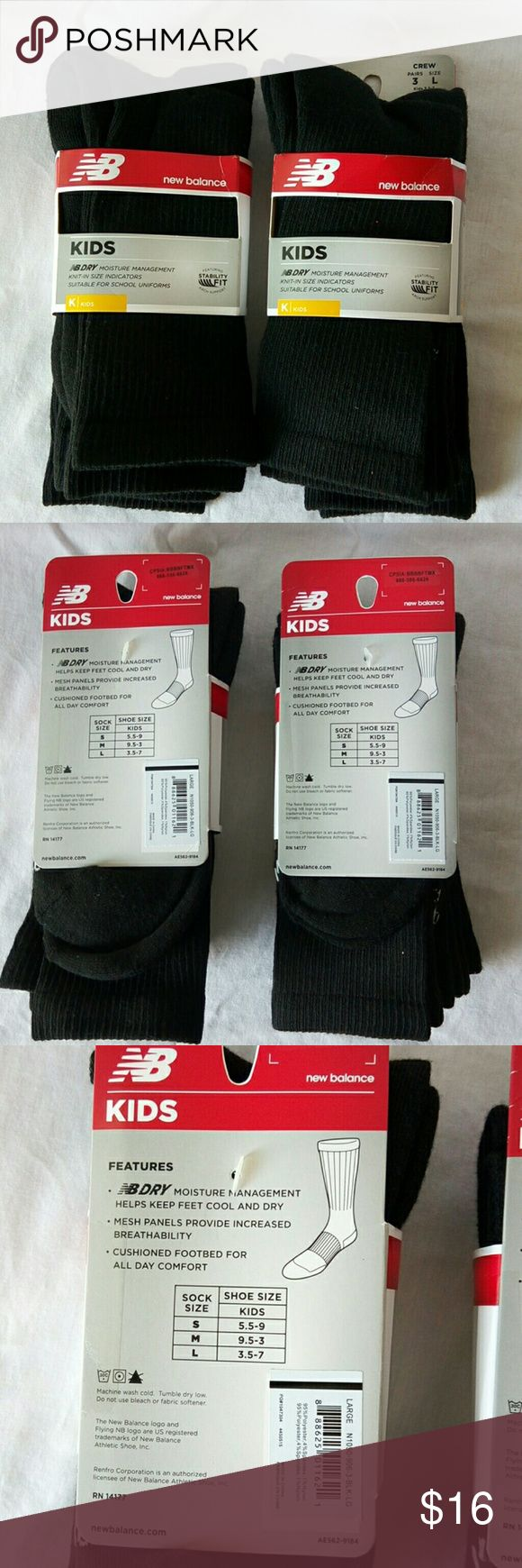 New Balance Kids Boy's Socks New 2pack of new balance black sick. Each pack has 3pairs size large (fit shoe size:3.5-7) moisture management helps keep feet cool and dry. Mesh panels provide increased breathability. Cushioned footbed for all day comfort. Featuring Arch support. New Balance Other