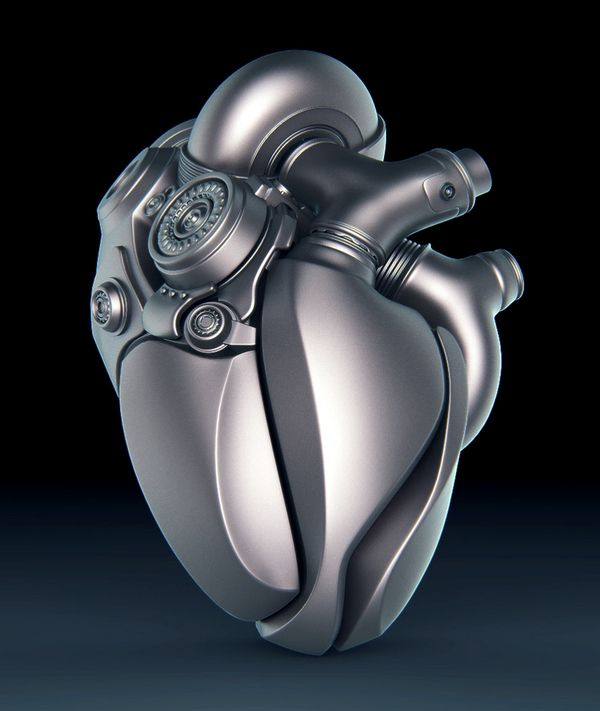 """Heart"" - Aleksandr Kuskov; Kiev, Ukraine {contemporary 3d mechanical anatomy illustration}"