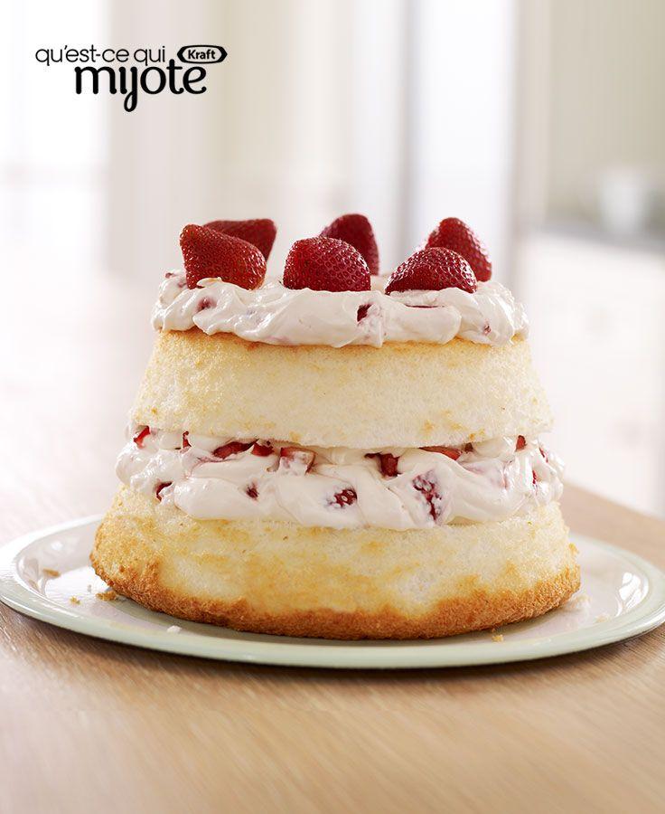Gâteau des anges aux fraises et à la crème #recette