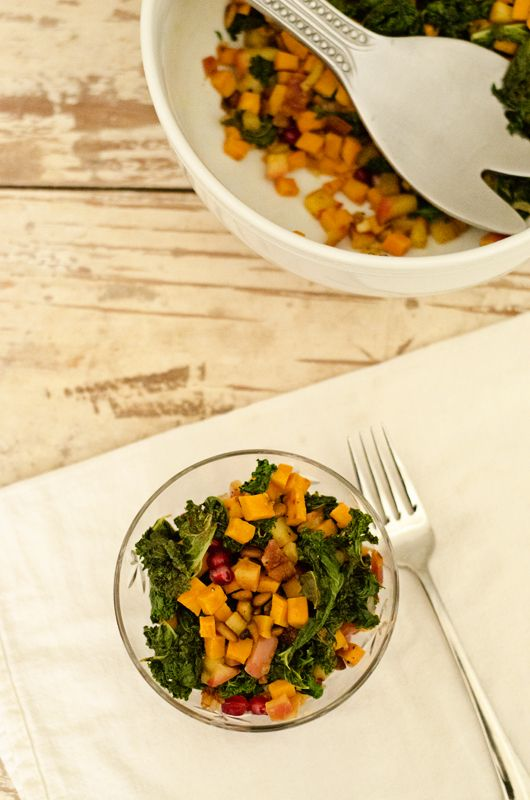 sweet potato, apple, kale salad with goat cheese