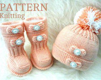 Crochet Pattern Baby Set Knitting Baby Booties por Solnishko43