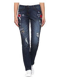 Alba Moda Boyfriend-Jeans - mit Patches