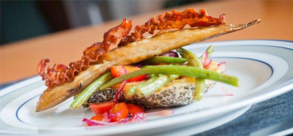 Warm Mackerel Salad on Toast with Mustard Dressing
