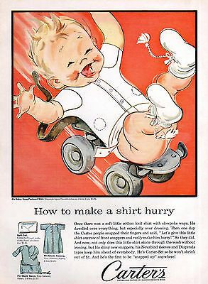 Carter's Baby Clothes Fashion Ad Children's 1950's Roller Skate Wall Decor | eBay