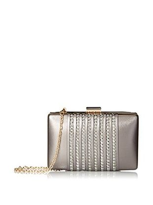 La Regale Women's Faux Leather with Beads Minaudiere, Black/Gold