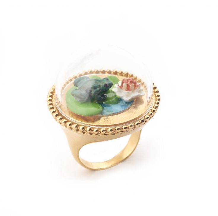 Curios Frog & Lilipad Ring - Large Size Only