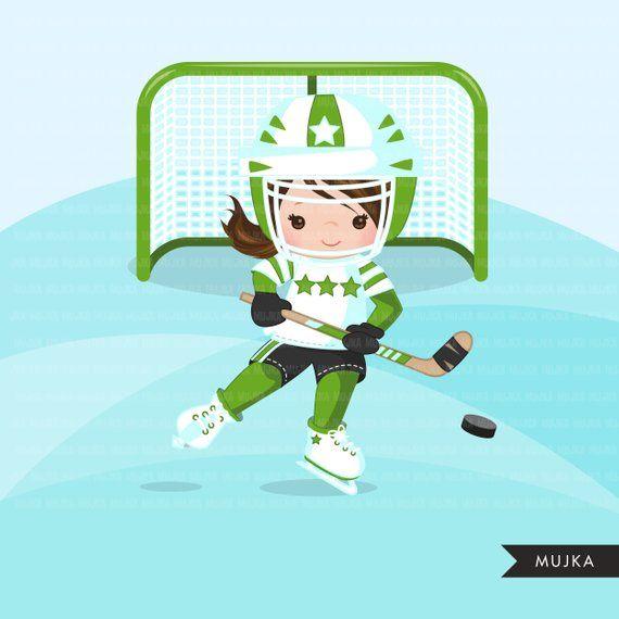 Hockey Clipart Sport Graphics Girls Hockey Player Etsy Sports Graphics Hockey Girls Clip Art