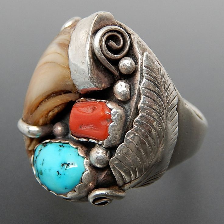 NATIVE AMERICAN OLD PAWN STERLING SILVER BEAR CLAW TURQUOISE & CORAL MEN'S RING - SIZE 13.75