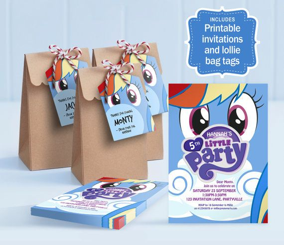 My Little Pony Party, Rainbow Dash printable invitations and lolly bag tags - My Little Pony theme, Rainbow Dash invite / Rainbow Dash Party by MontyandMeShop