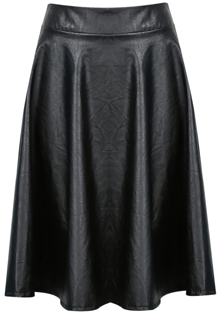Falda polipiel cintura elástica-negro 12.35