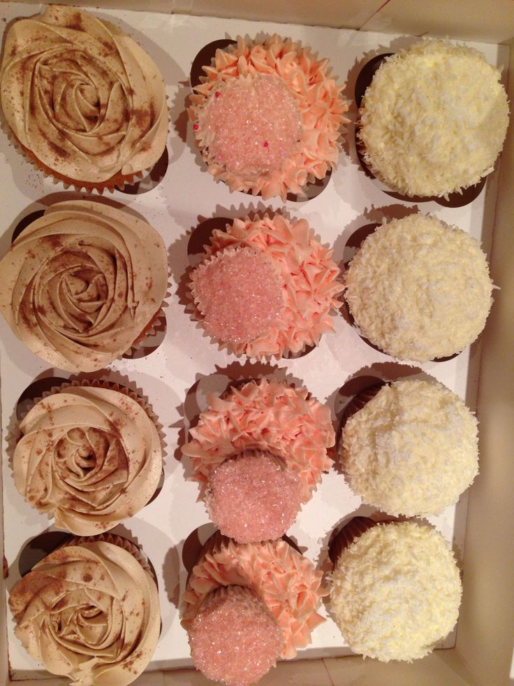 Coconut, raspberry and mochacchino cupcakes