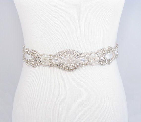 Crystal Rhinestone Pearl Bridal Belt, Satin Ribbon Wedding Dress Sash, Beaded Bridal Belt, Jeweled Beaded Wedding Gown Sash, 35 Satin Colors