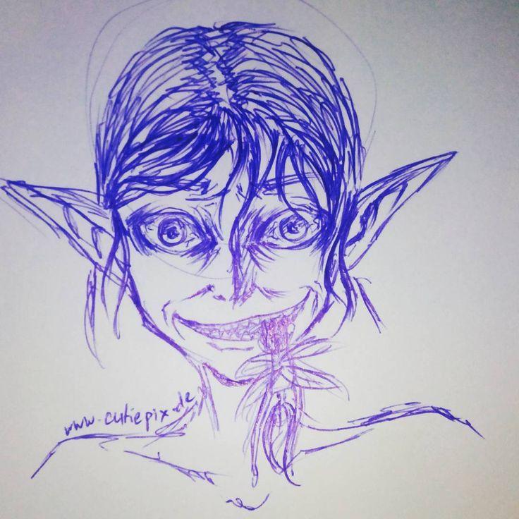 Hihi sieht einbisschen aus wie Golum xD war keine Absich  Eine weitere Kugelschreiber Skizze xD (Ballpen Sketch)  #Elf #anime #manga #animaart #animed…