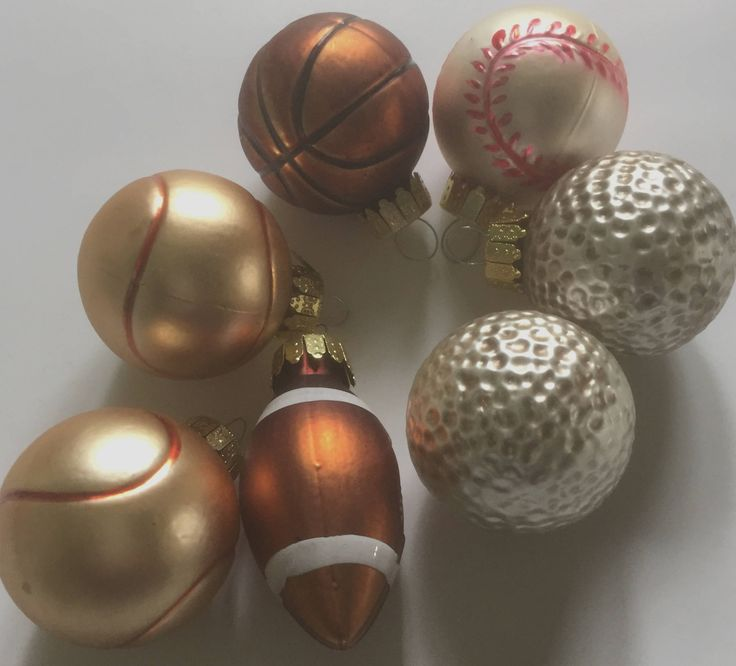 Vintage Sports Christmas Ornaments, Basketball ornament, Football ornament, Golf Ornament by ChezShirlianne on Etsy