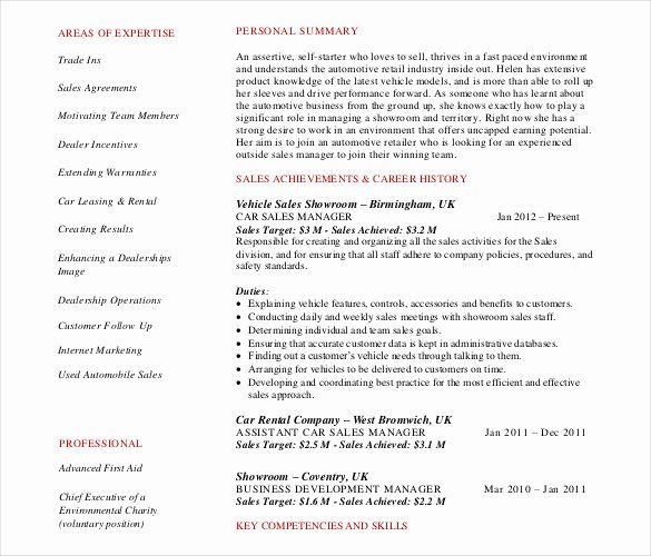 Car Sales Manager Resume Unique Automobile Resume Templates 25 Free Word Pdf Documents Dow In 2020 Sales Resume Examples Free Resume Template Word Job Resume Samples
