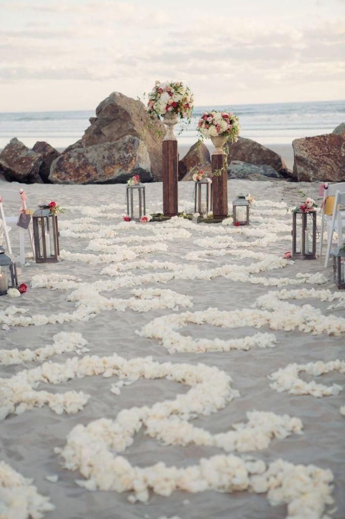 white flower wedding runner, beach wedding aisle and arch