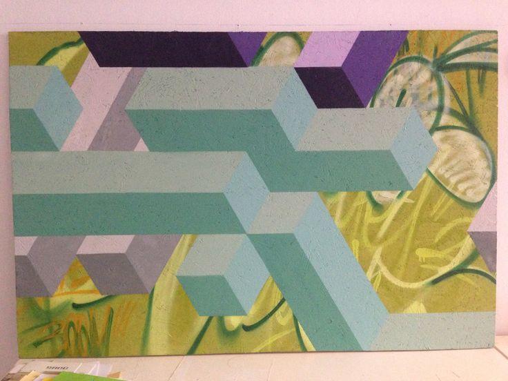 Ment+Deban 2014 . Spray paint on wood 150x120 cm.