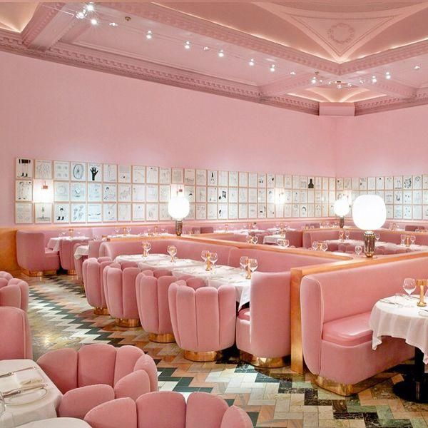 Even among the world-class eye candy in @refinery29's roundup of London's most-Instagrammed restaurants, this all-pink dining room stands out.