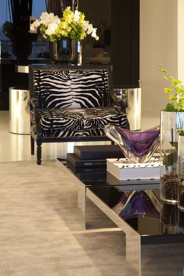Love The Reflective Surfaces And The Pop Of Drama Added From The Zebra  Print Chair~