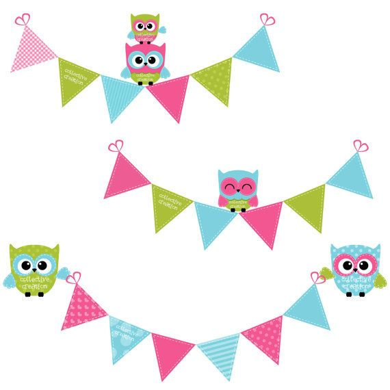 Cute Owls & Bunting Clipart in Bright Pink by CollectiveCreation