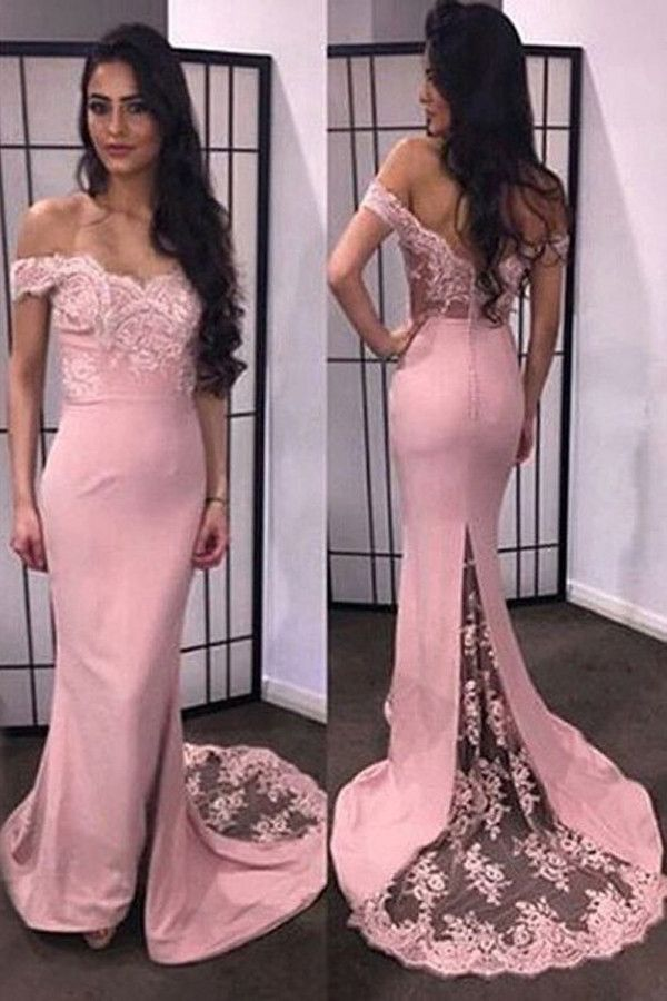 Mermaid Sweetheart Off-the-shoulder Long Prom Dress with Train PG316