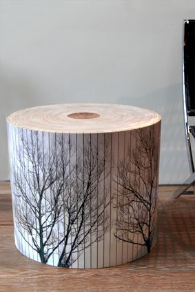 Log Stool by Alex Earl and Andrew Thompson. For whisky glass beside bath