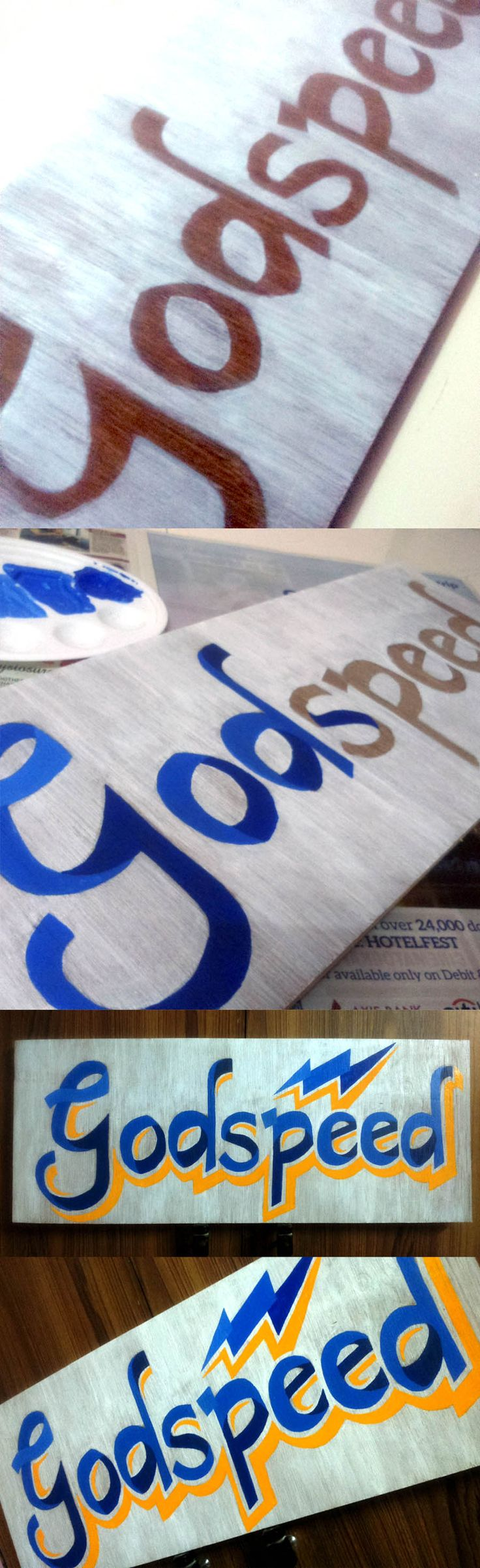 Godspeed - Typography on wood